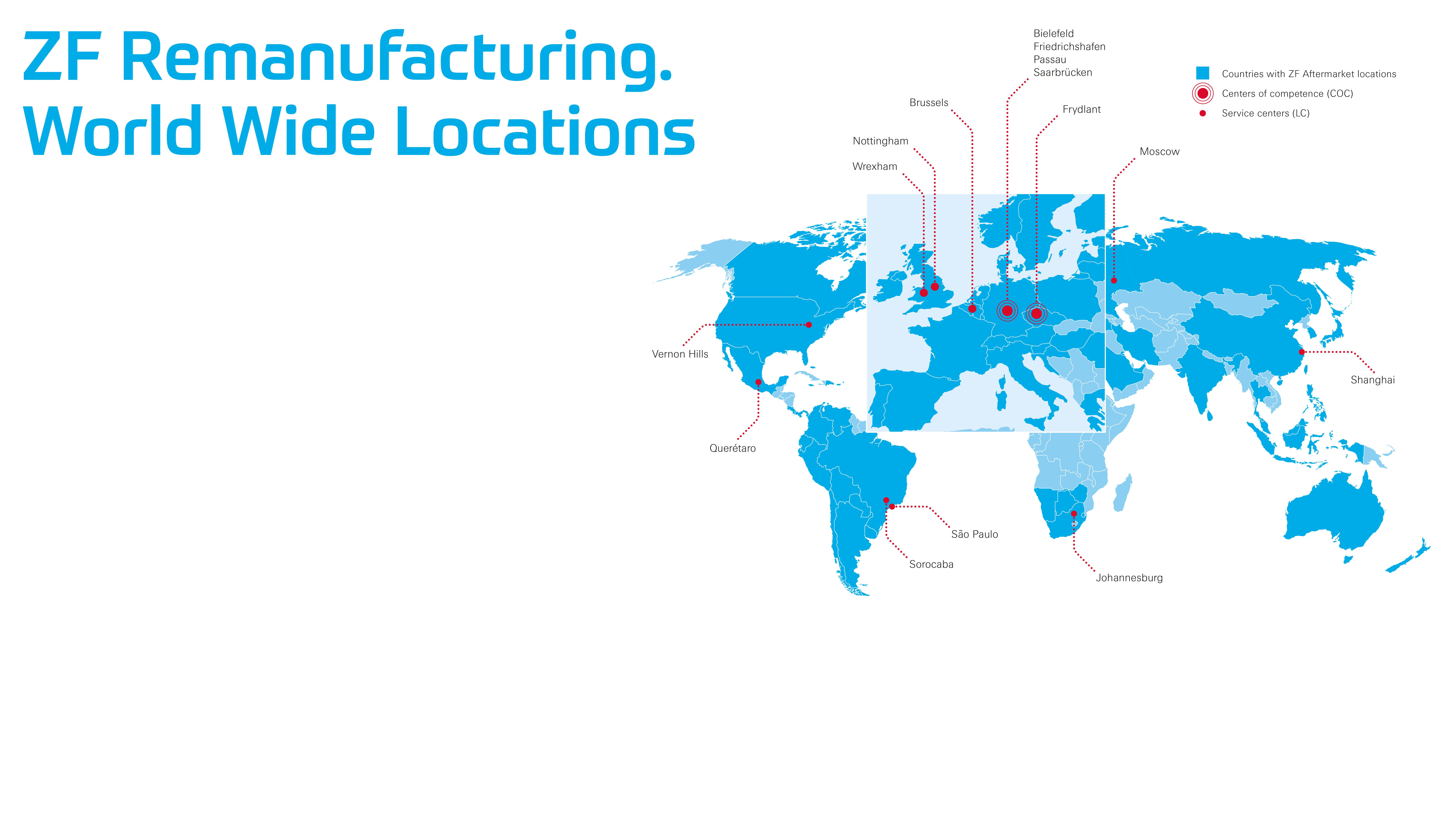 Worldwide ZF remanufacturing locations